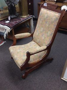Antique Eastlake Rocking Chair Flower Upholstery 1800s Aesthetic Style Ships