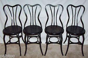 ... 4 Toledo Metal Furniture Co Uhl Art Steel Soda Fountain Ice Cream Chairs  ...