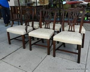 ... Set 6 Mahogany Chippendale Hickory White Furniture Dining Room Chairs  1990s ...