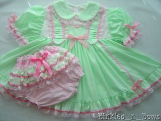 Spring Minty Green Dress Set Adult Baby Sissy One of A Kind Custom Made