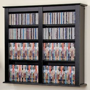 Floating Wall Double Media Storage Contemporary Wood Cabinet DVD CDs Games VHS