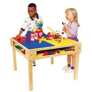 """New Kids Wooden Lego Table Wood Block Building Play Table 32"""" x 32"""""""