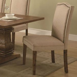 Set of 2 Parson Dining Chairs with Nailhead Edge Trim