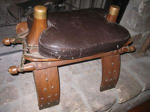 Vintage Antique Leather Wood Camel Saddle Stool Bench Seat Chair Decor Western