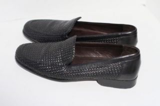 Bragano Mens Black Leather Woven Shoes Size 9 Made in Italy