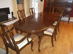 Ethan Allen Georgian Court Queen Anne Cherry Dining Set Table 6 Chairs Ships