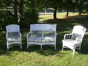 Antique Michigan Seating Company 3 Piece Wicker Porch Set Sofa Rocker Chair 1916