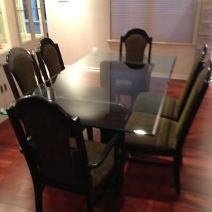 Black contemporary glass top table dining set furniture for Furniture 08054