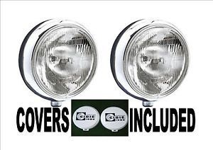 PAIR 2 STAINLESS STEEL CHROME 9 CIBIE SUPER OSCAR SPOT DRIVING FOG LAMPS LIGHTS