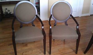 Ethan Allen Round Back Arm Dining Chairs 2 Avenue Collection