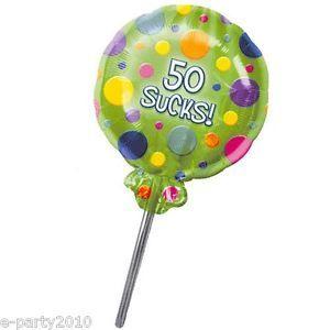 50 Sucks Foil Mylar Balloon Lollipop Polka Dots 50th Birthday Party Supplies
