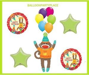 Sock Monkey Happy Birthday Balloon 10 Bananas Party Supplies Favors Lime Blue
