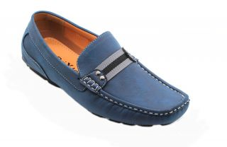 Men's Casual Leather Moccasins Loafer Strap Across Slip on Driving Shoes Blue
