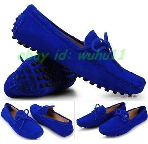 Blue Mens Comfy Cow Leather Casual Slip on Loafer Shoes Moccasins Driving Shoes