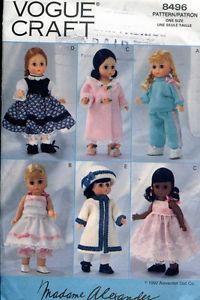 "8"" Madame Alexander Doll Clothes Pattern Dress Vogue 8496 445 Puddin Victoria"