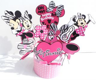 Matches Minnie Mouse Hot Pink Zebra Party 11 Centerpiece Sticks Cricut Die Cut