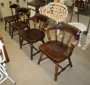 Set of 4 Ethan Allen American Traditions Armchairs Dining Room Chairs Dark Pine