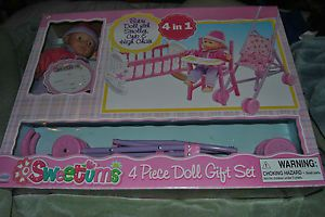 Sweetums 4 in 1 Baby Doll Stroller Crib Baby Doll High Chair Doll Gift Set