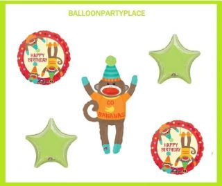 Sock Monkey Happy Birthday Balloon Mylar Bananas Party Supplies Favors Lime Blue