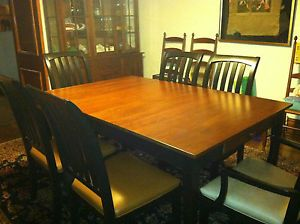 Ethan Allen American Impressions Dining Table 6 Chairs 2 Leaves Beautiful