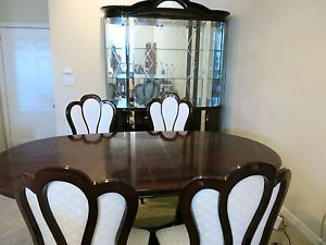 Modern Cherry Dining Room Table Chairs China Cabinet Set Solid Wood Curved Glass
