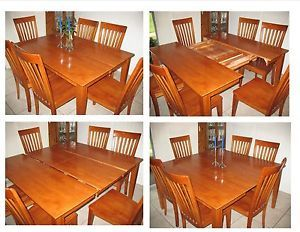 All Wood Dining Room Table with Built in Leaf and 6 High Back Chairs