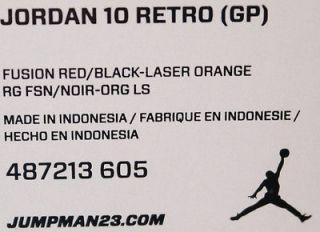 487213 605 Infants Crib Air Jordan 10 Retro x Fusion Red Laser Orange with Cap