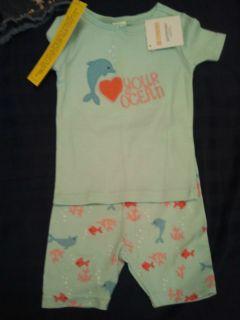Gymboree Girls Love You Ocean Dolphin Shirt Shorts Gymmies Pajamas 18 24
