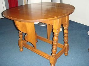 Vintage Tell City Chair Company 1900 1950's Oval Maple Drop Leaf Folding Table