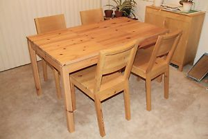 Rustic Solid Wood Dining Room Set 1 Table and 4 Chairs