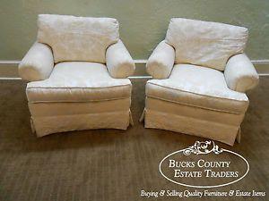 Henredon Custom Folio Pair of Upholstered Living Room Chairs