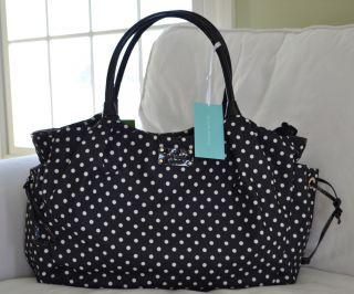 New Kate Spade Black Spot Polka Dot Nylon Stevie Baby Diaper Bag Tote Red