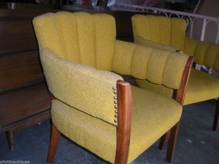 Vintage Yellow Fan Back Arm Chairs Pair Desk Office Living Room Nubby Upholstery
