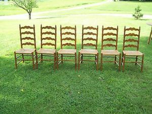 Antique Ladder Woven Cane Seat Chairs On PopScreen
