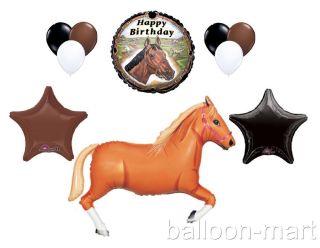 10pc Tan Horse Balloons Set Western Farm Rodeo Cowboy Birthday Party Supplies