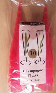 Pack 10 Pink Plastic Champagne Flutes Glasses Ideal for Any Party 5 FL oz Glass