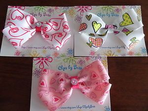 Large Hearts Hair Bow Handmade You Choose Infant Toddlers Girls