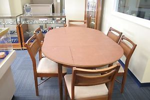 Vintage 1950's Scandinavian Style Dining Room Table 6 Chairs Local NJ Pick Up
