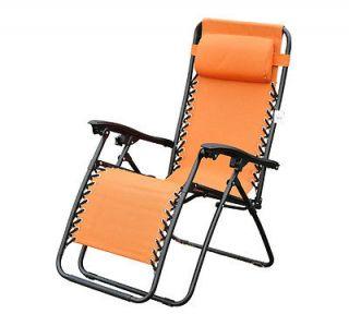 Orange Zero Anti Gravity Lounge Chair Folding Patio Reflexology Recliner Pool