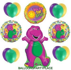 XL Barney Mylar Latex Balloons Lot Party Supplies Fun 1st 2nd 3rd 4th Birthday