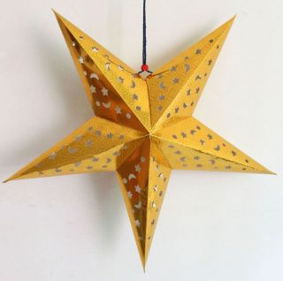 Hanging Decor 3D Laser Star Beauty Golden Paper Lantern Lampshade Wedding Party
