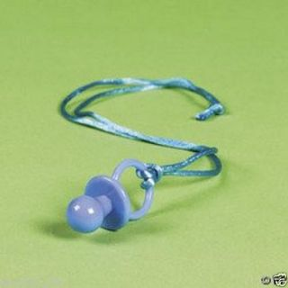 12 Baby Shower Party Game Favors Boy Blue Pacifier Necklace