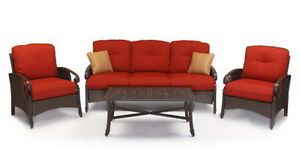 New 4 Piece Outdoor Patio Furniture Set 2 Wicker Chairs Coffee Table Sofa Red