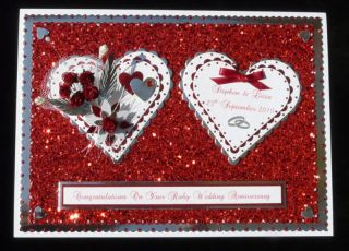 Personalised Ruby 40th Wedding Anniversary Card Box Wife Friends Special Couple