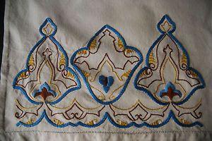 Antique Edwardian Chair Back Cover Art Nouveau Embroidery Detail 780