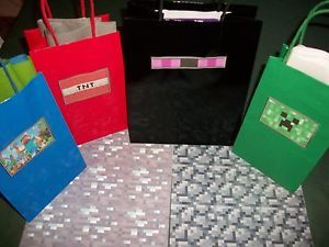 Handmade Minecraft Enderman Steve Gift Party Bags Diamond Wrapping Paper