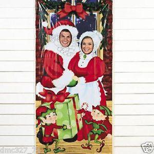 Christmas Party Mr Mrs Santa Claus Elf Photo Photographs Prop Door Banner