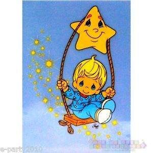 1 Precious Moments Iron on Transfer Boy Swing Star Baby Shower Party Supplies