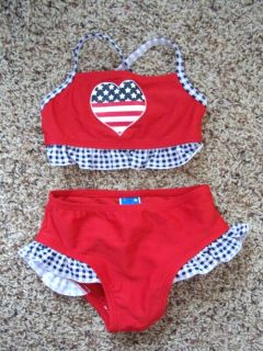 4th July Red White Blue Baby Girl Bikini Swimsuit Size 6 9 12 Months