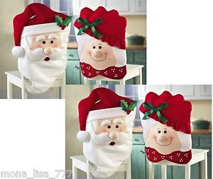 New Set of 4 Holiday Dining Chair Covers Santa Mrs Claus Christmas Kitchen